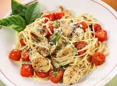 Spaghetti with Sauteed Chicken and Grape Tomatoes-  Gonna have to try this, but substitute the tomatoes with fresh spinach.