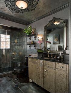 Moody Black Bathroom Makeover   Designer Interior Design Idea   Custom  Ceiling Medallion Design   Large