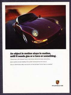 Porsche 911 Carrera S ad (1993) | Porsche would never try anything as fun these days... unlike Skoda - www.drive.co.uk/porsche
