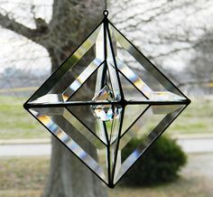 8 inch Open Pyramid Orb with Crystal Ball Accent Stained Glass Ornaments, Stained Glass Suncatchers, Stained Glass Designs, Stained Glass Projects, Stained Glass Patterns, Stained Glass Art, Beveled Glass, Mosaic Glass, Terrariums