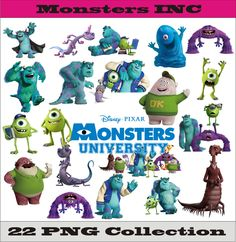 Monsters Inc University Collection PNG Vector Instant Download Disney Clipart Albums Collages Greeting Cards Sticker Printable Party Items by SlavGraphics on Etsy