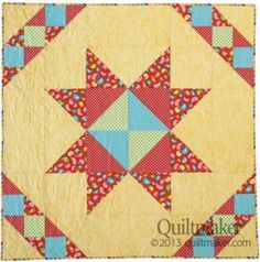 Sunshiny Day (48″ x 48″) from the July/August '13 issue of Quiltmaker is a great baby quilt, fast and easy. Fabric: Hello Sunshine by Lori Whitlock and Basic Shades, all from Riley Blake.