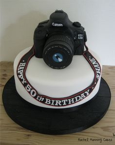 Awesome Photo of Camera Birthday Cake Camera Birthday Cake Camera Birthday Cake Thecouture Mini Tortillas, Cake Camera, Slr Camera, Pretty Cakes, Cute Cakes, Fondant Cakes, Cupcake Cakes, Dad Cake, Gateaux Cake