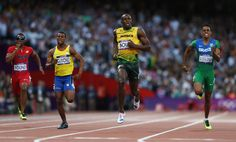 In This Photo: Usain Bolt, Alex Quinonez, Isiah Young, Aldemir Da Silva Junio  (L-R) Isiah Young of the United States, Alex Quinonez of Ecuador, Usain Bolt of Jamaica, Aldemir Da Silva Junior of Brazil compete in the Men's 200m Semifinals on Day 12 of the London 2012 Olympic Games at Olympic Stadium on August 8, 2012 in London, England.  (August 7, 2012 - Source: Streeter Lecka/Getty Images Europe) - http://www.PaulFDavis.com/success-speaker (info@PaulFDavis.com)