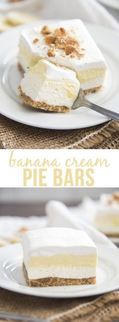 Banana Cream Pie Bars are a delicious no bake dessert! They start with a cookie crust, a homemade cheesecake filling, and banana pudding, all topped with a creamy whipped topping! is part of Banana cream pie - Banana Pudding Cheesecake, Homemade Cheesecake, Cheesecake Bites, Cheesecake Squares, Cheesecake Cake, Pudding Cake, Cheesecake Recipes, Cheesecake Strawberries, Pie Recipes