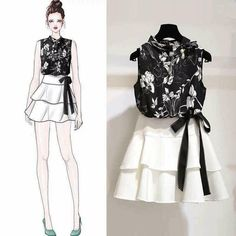 2019 New Summer Women Floral Print Hollow Out Shirt Top Bow Sashes Ruffles Solid Mini Skirt Suts Lady Fashion Casual Suit Source by reyadnigeria fashion casual shirts Clothes Design Drawing, Fashion Design Drawings, Fashion Sketches, Fashion Drawing Dresses, Fashion Illustration Dresses, Fashion Dresses, Fashion Illustrations, Drawing Fashion, Fashion Clothes