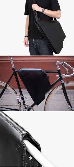 2in1 Leather bicycle frame bag & Elegant messenger bag - Elegant Black / Bike Bag / Bicycle Bag / Messenger Bag / Bike/ Bike Accessory #Affiliatelink
