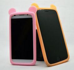 Encontrar Más Fundas para Móvil Información acerca de Oso lindo oídos de silicona de borde de la cubierta del teléfono para Apple iPhone 6 más Sansung Galaxy S6 S5 S4 S3 LG G3 G3 G4 Lenovo, alta calidad Fundas para Móvil de 80 Phone Accessories Technology Co., Ltd. en Aliexpress.com