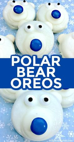 Polar Bear Cookies Polar Bear Oreos are a frozen fun winter-themed kids treat or holiday party dessert!Polar Bear Oreos are a frozen fun winter-themed kids treat or holiday party dessert! Dessert Party, Party Desserts, Mini Desserts, Eggless Desserts, Thermomix Desserts, Healthy Desserts, Healthy Recipes, Keks Dessert, Dessert Crepes