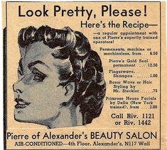 Vintage beauty parlour menu. No hair extensions?