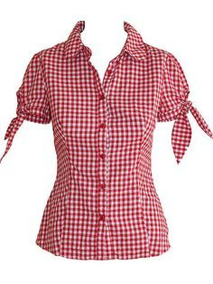 Puff sleeve blouse -- one in gingham, the other in plain white poplin.I love the red gingham, the tied sleeves, and the fact that its a button down.Inspiration - minus the tiesCute style to wear with capris or a plain skirt Rockabilly Shirts, Rockabilly Fashion, Retro Fashion, Blouse Patterns, Blouse Designs, Top Chic, Robes Pin Up, Cool Outfits, Casual Outfits