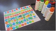 do-a-dot patterning.you start the pattern, they continue it Preschool Rules, Preschool Literacy, Kindergarten Math, Kindergarten Activities, Teaching Math, Math Patterns, Do A Dot, School Fun, School Stuff