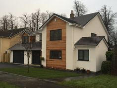 Timber cladding and render in Cheshire and Manchester. Wooden Cladding Exterior, Larch Cladding, House Cladding, Facade Design, Exterior Design, House Design, Rendered Houses, House Extension Plans, Dream House Exterior