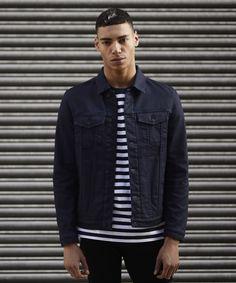 Stripe tshirt and indigo denim jacket - Topman