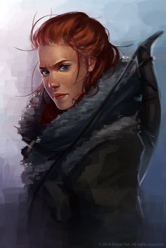 "Ygritte by Elaine Teh. ""The wildlings seemed to think Ygritte a great beauty because of her hair; red hair was rare among the free folk, and those who had it were said to be kissed by fire, which was supposed to be lucky. Lucky it might be, and red it certainly was, but Ygritte's hair was such a tangle that Jon was tempted to ask her if she only brushed it at the changing of the seasons."""