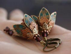 Flower dangle earrings teal green/gem romantic brass by AmberSky