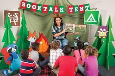 Decorate a corner of your Book Fair with a tent-like backdrop, surrounded by faux trees and friendly creatures. Then, invite volunteers, community leaders, and other school partners to perform read-alouds of their favorite picks from the Fair to students. Reading Tent, Reading Fair, Camping Books, Camping Theme, Read A Thon, Library Themes, Fair Theme, Summer Reading Program, Elementary Library