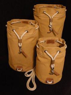 Rum Runner Seabag Set - 3 Bags shown in Nutmeg (Standing Upright) Duffel Bag, Backpack Bags, Canvas Leather, Leather Bag, Leather Projects, Leather Working, Leather Craft, Backpacks, Mens Fashion
