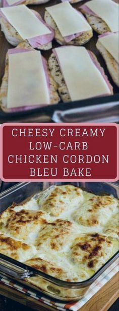 CHEESY CREAMY LOW CARB CHICKEN CORDON BLEU BAKE #casserole #chicken #keto #ketocasserole #lowcarb