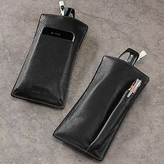 Our leather eyeglass case is now a phone holder, too  Take a call and make a note with crystal-clear clarity with the Blink & Ink Phone Holder, which holds your eyeglasses, smartphone and pen in one streamlined leather case. This 25th anniversary update of our multifunctional eyeglass case and pen sleeve is now a leather phone case as well.