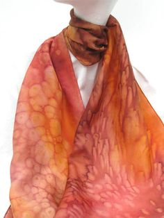 Hand Painted Silk Scarf in Copper Russet Gold Brown by ShariArts, $26.00