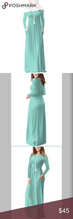 """New Color! Favorite Maxi in Minty Green Simple, flowy and easy to wear, it has side pockets and is soft and stretchy to accommodate all body types. Floor length, its casual style is super versatile; dress it up for Saturday night or down for work. A-line silhouette. Cotton / Spandex. Check other listings for more colors!  ASK IF YOU NEED A SIZE! 🎀ADD A TASSEL NECKLACE!🎀 Approx. Length (shoulder to hem) Small: 53"""" - Medium: 53.5"""" - Large: 54"""" - X-Large:54.5"""" - XX-Large:55"""" THESE ARE…"""