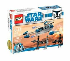 """LEGO Star Wars Assassin Droids Battle Pack (8015) by LEGO. $19.49. Build your army and add #8014 Clone Walker Battle Pack for even more fun. Contains 94 pieces. Build up your own army of these silent, skilled and sneaky droids. Send them out with their flick-missile-firing speeder on secret missions all across the galaxy. Includes 3 Assassin Droid and 2 Elite Assassin Droid minifigures and 2 flick fire missiles. Measures 8"""" long. From the Manufacturer          ..."""