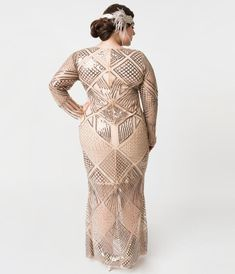 ffa65405d45 Plus Size Blush Rose Sleeved Beaded Régine Long Flapper Dress