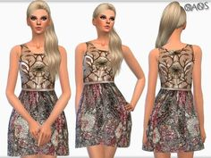 Metallic Brocade Mini Dress by OranosTR at TSR via Sims 4 Updates Sims 4 Clothing, Female Clothing, Sims 4 Cc Furniture, Sims 4 Game, Sims 4 Update, Sims Resource, Sims 4 Custom Content, New Outfits, Girl Hairstyles