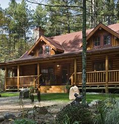 large porch on cabin