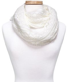 Love this White Crocheted Infinity Scarf by Kaleidoscope Collections on #zulily! #zulilyfinds