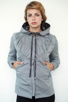 item  hoodie jacket colour  grey special feature  2 pockets at the front -  fed with quilted lining back lenght  63 cm sleeve lenght  64 cm material   ... dd38298ae6
