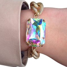 Aurora Borealis Large Crystal and Gold Chain Bracelet