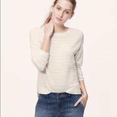 ✨HP✨Anne Taylor Loft Ivory & Tan Striped Sweater Brand new with tag sweater. Never worn. LOFT Sweaters Crew & Scoop Necks