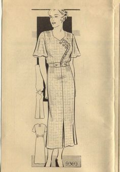 Marian Martin Patterns | marian martin 9369 ca 1930s misses dress tuck fitted at waist ...