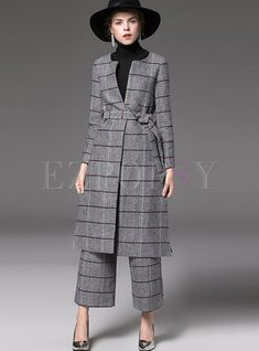 Plaid Zip-up Woolen Coat & Pocket Loose Straight Pants Two-piece Outfits Suit Fashion, Hijab Fashion, Fashion Dresses, Fashion Coat, Plaid Outfits, Classy Outfits, Mode Costume, Hijab Style, Smart Outfit