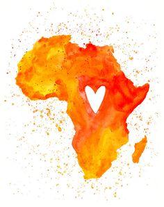 Africa Love-Art Print inch-Wall Art-Home decor-state poster Flavio Briatore, African Design, African Art, Illustrations, Illustration Art, Afro Art, African Culture, Map Art, Black Art