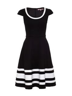 This cut and sew skater style dress features a stretch ponte fabrication and cute cap sleeves. Add a pop of colour with a contrasting shoe for the warmer weathe or add a black tight and coat to take you through those cooler months. Lovely Dresses, Beautiful Outfits, Skater Style Dress, Sophisticated Dress, Vintage Inspired Dresses, Dress Hats, Review Dresses, Classy Dress, Dress Collection