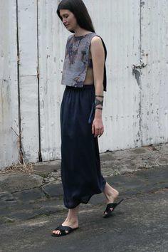 Rebekah Archer | Sustainable fashion design. Hand woven Jacquard using naturally dyed indigo silk and linen, and copper thread brocade. Zero waste garment pattern. www.rebekaharcher.com
