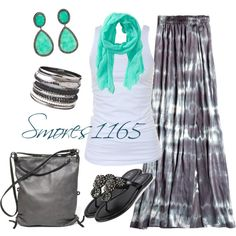 """Gray Tie Dye Maxi"" by smores1165 on Polyvore"