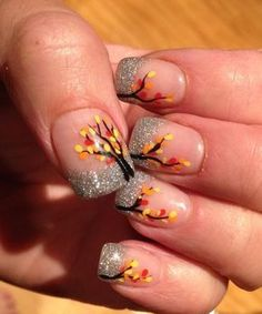 french tip nail art designs for thanksgiving - Google Search