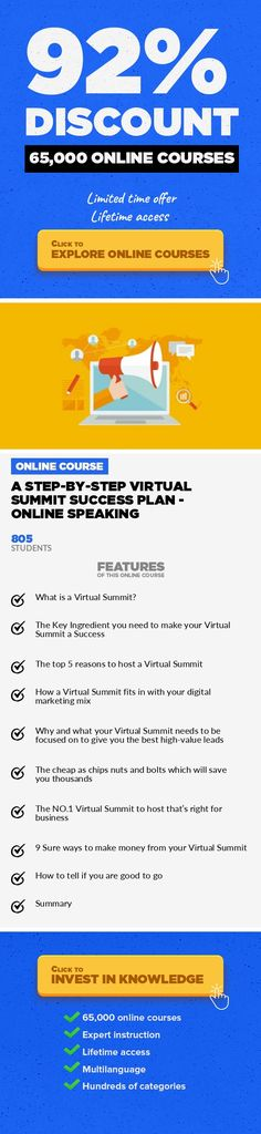 A Step-By-Step Virtual Summit Success Plan - Online Speaking Entrepreneurship, Business #onlinecourses #onlinelessonshighschools #onlinecourses  Marketing on a shoestring, reach thousands of prospects, increase sales, make a passive income without leaving your home UPDATED 14 MAY 2017 This course is designed for those of you want to do it yourself. An Introductory Course You recognize that you wan...
