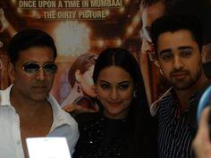 The cast of Hindi movie 'Once Upon a Time in Mumbai Dobaara' came to Dubai. Stars Imran Khan Sonakshi Sinha and Akshay Kumar Time In Mumbai, Imran Khan, Akshay Kumar, Sonakshi Sinha, Hindi Movies, Once Upon A Time, Dubai, It Cast, Stars