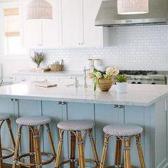 Blue Center Island with Palecek Taza White Pendants, Transitional, Kitchen