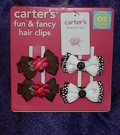 New Carter's Fun & Fancy Dress Me Up Girls Set of 2 Pair Hair Clips Barrettes #Carters