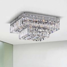 Giselle Chrome Finish 2-tier Crystals Square Flush Mount Chandelier