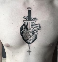 Aim for the Heart Tattoo - InkStyleMag Wicked Tattoos, Body Art Tattoos, Girl Tattoos, Small Tattoos, Tatoos, Winter Tattoo, Anatomy Tattoo, Blade Tattoo, Celtic Tattoos