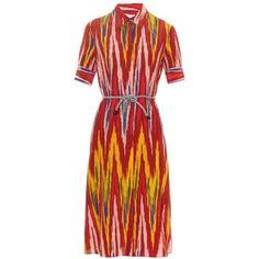 Altuzarra Karin ikat-print silk shirtdress ($1,238) ❤ liked on Polyvore featuring dresses, red print, shirt-dress, silk print dress, red silk dress, red shirt dress and print dress