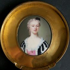 A fine portrait of a Noblewoman believed to be Maria Clementina Sobieska by Andre Roquet, signed with initial on the front Miniature Portraits, Portrait Art, Her Hair, Believe, Black And White, Silhouettes, Ivory, Painting, Miniatures
