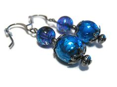 Gunmetal Purple and Blue Beaded Dangle Earrings by SharkysWaters, $10.00